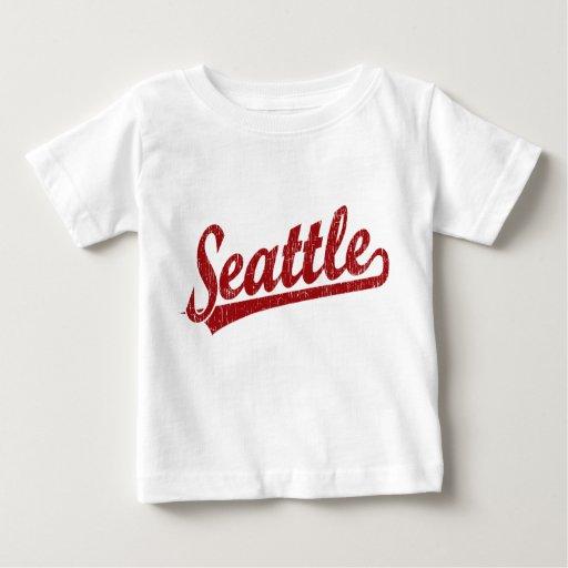 Seattle script logo in red t-shirt