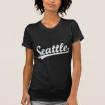 Seattle script logo in white t shirt