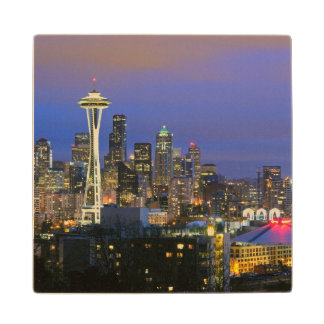 Seattle seen from Kerry Park in Queen Anne Maple Wood Coaster
