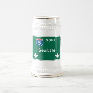 Seattle, señal de tráfico de WA Jarra De Cerveza