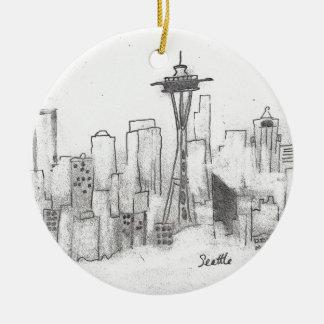 Seattle Sketch Ceramic Ornament