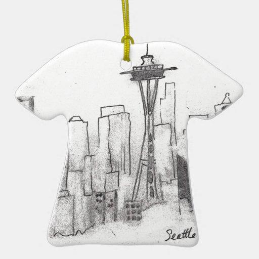 Seattle Sketch Christmas Tree Ornament