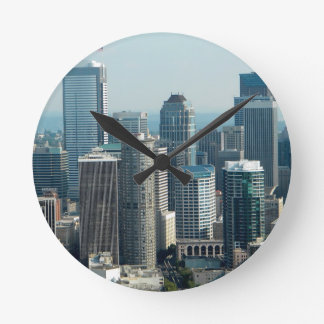 Seattle Sky Round Clock