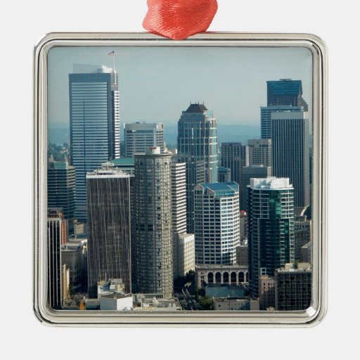 Seattle Sky Square Metal Christmas Ornament