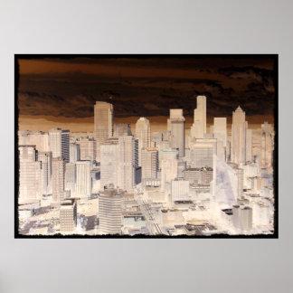 Seattle Skyline 2 Posters