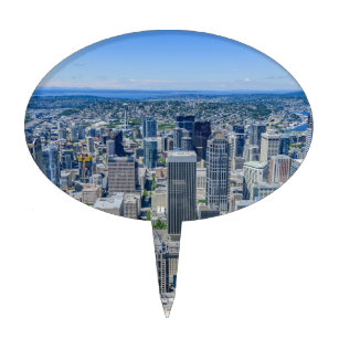 Seattle Skyline Aerial Cake Topper