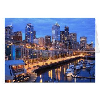 Seattle skyline and harbor Washington State Cards