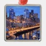 Seattle skyline and harbor, Washington State Metal Ornament