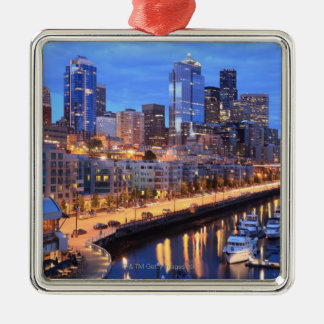 Seattle skyline and harbor, Washington State Metal Ornament
