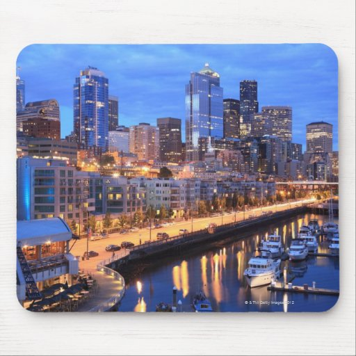 Seattle skyline and harbor, Washington State Mouse Pad