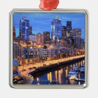 Seattle skyline and harbor, Washington State Square Metal Christmas Ornament