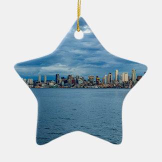 Seattle Skyline at Dusk Ceramic Ornament