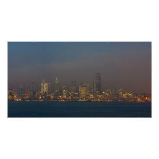 Seattle Skyline At Dusk. Photo Art