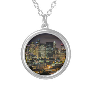 Seattle Skyline at Night Silver Plated Necklace