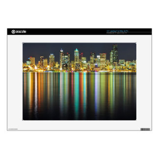 """Seattle skyline at night with reflection 15"""" laptop skins"""