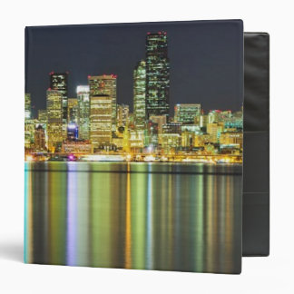 Seattle skyline at night with reflection binder