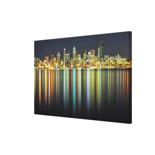 Seattle skyline at night with reflection stretched canvas prints