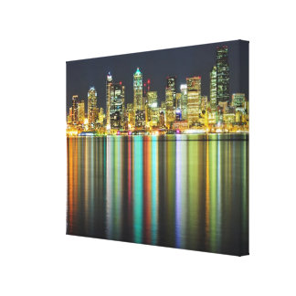 Seattle skyline at night with reflection gallery wrap canvas