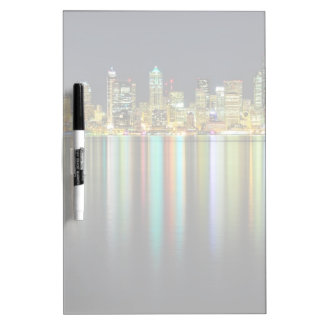 Seattle skyline at night with reflection Dry-Erase boards