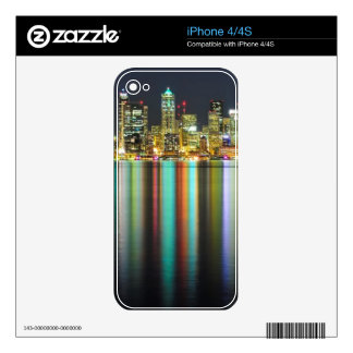 Seattle skyline at night with reflection iPhone 4S decal