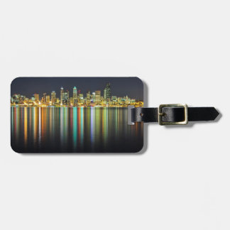 Seattle skyline at night with reflection luggage tag