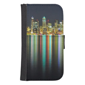 Seattle skyline at night with reflection phone wallet