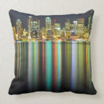 Seattle skyline at night with reflection pillows