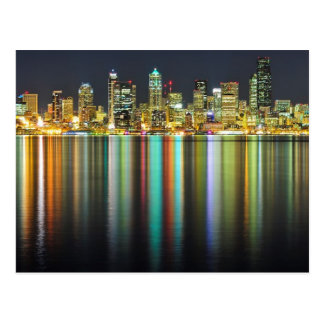 Seattle skyline at night with reflection postcard