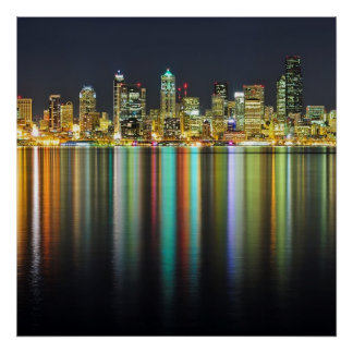 Seattle skyline at night with reflection print