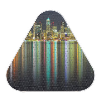 Seattle skyline at night with reflection speaker