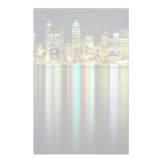 Seattle skyline at night with reflection stationery