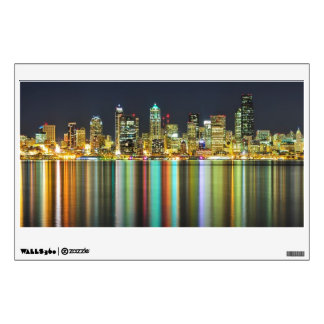 Seattle skyline at night with reflection wall decal