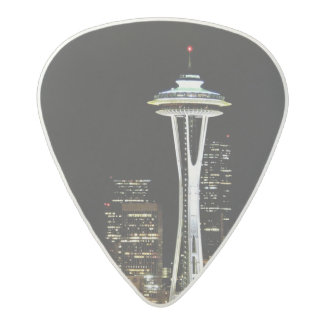 Seattle skyline at night, with Space Needle. Acetal Guitar Pick