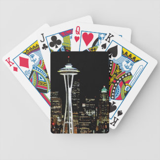 Seattle skyline at night, with Space Needle. Bicycle Playing Cards