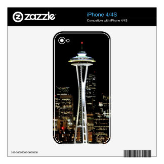 Seattle skyline at night, with Space Needle. Decals For iPhone 4S