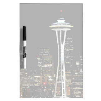 Seattle skyline at night, with Space Needle. Dry Erase Board