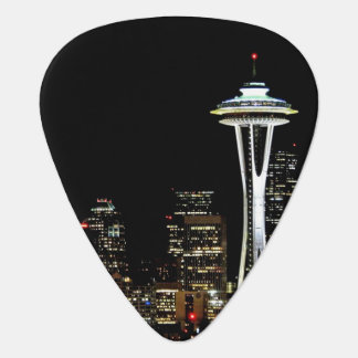 Seattle skyline at night, with Space Needle. Guitar Pick