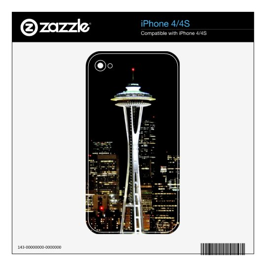 Seattle skyline at night, with Space Needle. iPhone 4 Skin