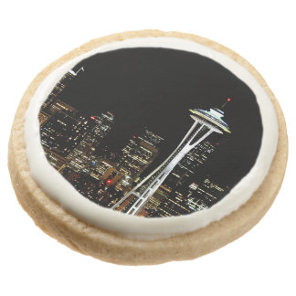 Seattle skyline at night, with Space Needle. Round Premium Shortbread Cookie
