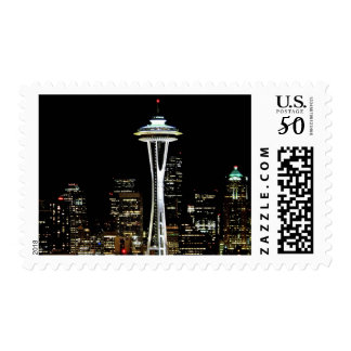Seattle skyline at night, with Space Needle. Postage