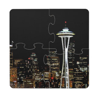 Seattle skyline at night, with Space Needle. Puzzle Coaster