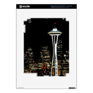 Seattle skyline at night, with Space Needle. Decals For iPad 3