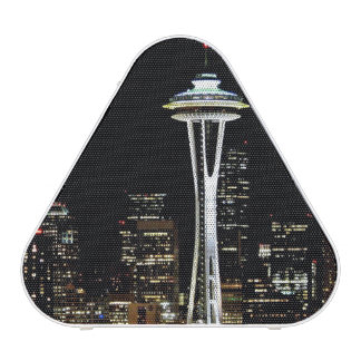 Seattle skyline at night, with Space Needle. Speaker
