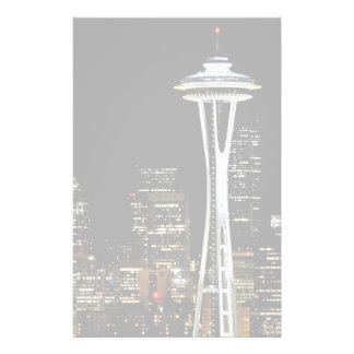 Seattle skyline at night, with Space Needle. Stationery