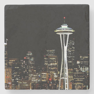 Seattle skyline at night, with Space Needle. Stone Coaster