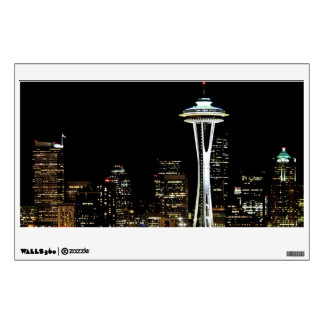 Seattle skyline at night, with Space Needle. Wall Sticker