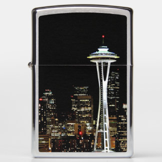 Seattle skyline at night, with Space Needle. Zippo Lighter