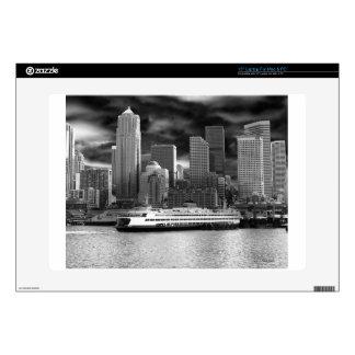 "seattle skyline black and white 15"" laptop skins"