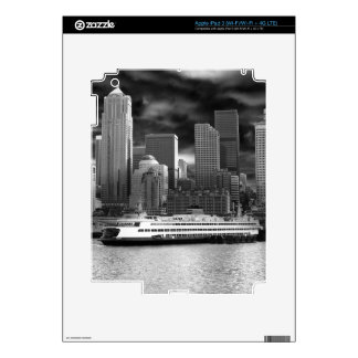 seattle skyline black and white decals for iPad 3