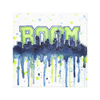 Seattle Skyline BOOM Watercolor Art Canvas Print
